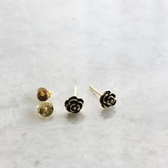 Tiny gold oxidized rose ear studs, Minimal rose ear studs, Cartilage studs, Dainty rose studs, Gold earrings (ES320) by SilverCartel on Etsy