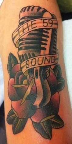6. Gaslight Anthem Tattoo. The '59 Sound Tattoo. Microphone Tattoo. Right Arm Tattoo.
