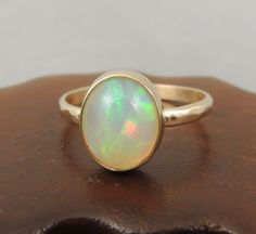 $495 Large Natural Opal 14k Gold Ring Natural by PointNoPointStudio $495