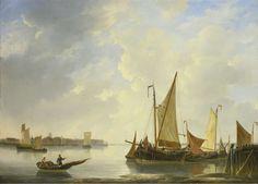 View of Dordrecht from Papendrecht, Christiaan Lodewijk Willem Dreibholtz, 1830 - 1837