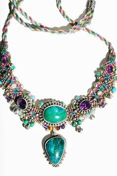 Isha Elafi Macrame Necklace with GemStones