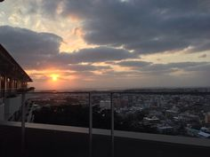 A view from 6th floor of a hospital that stands on a hill in Tomigusuku city, Okinawa. 豊見城の小高い丘の上に立つ病院の6階から見る夕陽。