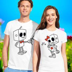 couple shirts / robot t shirt / pärchen t-shirts / matching couple shirts / cute couple shirts / his and hers shirts / Christmas shirts Cute Couple Shirts, Couple Tees, Matching Couple Shirts, Matching Couples, Matching Outfits, Cute Couples, Couple Gifts, T-shirt Paar, Couple Shirt Design