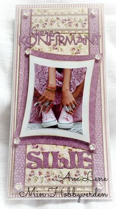 Min hobbyverden: Konfirmasjonskort til jente - igjen.. Confirmation Cards, Diy And Crafts, Paper Crafts, Joelle, Pink Girl, Cardmaking, Projects To Try, Barn, Frame