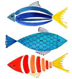 Amanti Art Summer Fish Trio 19 x 25 gerahmter Kunstdruck - drawing