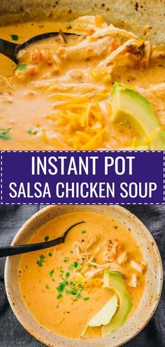 Enjoy comforting bowls of Instant Pot Salsa Chicken Soup with cream cheese! It's easy & simple to make, tasting like creamy & spicy Mexican comfort food. Use chicken breast or thighs, either meat will work. Great for healthy diets, low carb, keto, and gluten free. Families and friends can also make this for anyone who's sick or for colds. best dinners / pressure cooker recipes / fun meals and dishes / frozen / weeknight dinner recipes / #healthy #lowcarb #keto #instantpot #dinner #chicken