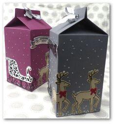 """Coul'Heure Papier: [Série Insta' Pochette] Carton à Lait """"Nuit de Noël"""" [Tutoriel] Christmas Gift Box, Stampin Up Christmas, Christmas Cards, Christmas Ideas, Mini Milk, Milk Box, Envelope Box, Envelope Punch Board, Xmas Crafts"""