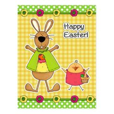Happy Easter. Funny Easter Bunny and Chick Design Easter Postcards for kids. Matching cards, postage stamps and other products available in the Holidays / Easter Category of the artofmairin store at zazzle.com