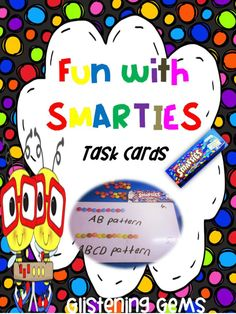 Task Cards - Math Centers - Smartie Fun - Great for 1st week back at school. There are 32 vibrantly colored task cards (plus black and white) that are sure to actively engage your students! The task cards includes: number patterns, 1 more, 1 less, 10 more, tallying, chance, sorting into colors, number concepts, creating addition sums and fractions (halves and quarters).