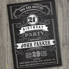 Vintage Retro Birthday Invitation PRINTABLE by partymonkey on Etsy