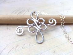 Filigree Celtic Pendant Necklace Silver Aluminum Wire Wrapped Jewelry Hammered Pendant Jewelry Gifts Under 20