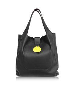 MM6 Maison Martin Margiela Large Black Leather Shopping Bag at FORZIERI