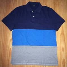 J. Crew Polo Shirt L XL 100% Cotton Short Sleeves Multi-Color Block Stripes NWT #JCrew #PoloRugby