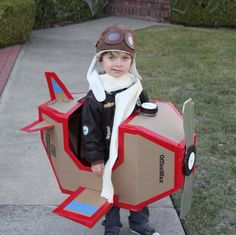 airplane halloween costume cardboard, The trick-or-treating bag is hidden in the nose of the plane, under the gauge (a peanut butter jar lid).