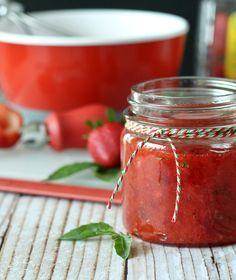 Strawberry Basil Freezer Jam from @Rachel Cooks | Rachel Gurk