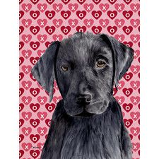 Labrador Black Hearts Love Valentine's Day House Vertical Flag