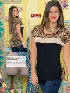 Dressy Dresses, Dressy Tops, Blouse Styles, Blouse Designs, Diy Clothes Refashion, Animal Print Fashion, Brunei, Chiffon Tops, T Shirts For Women