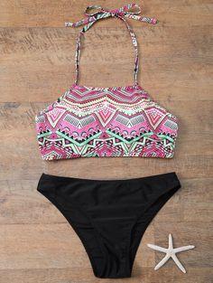 Halter Geometric Print Bikini Set | Psychedelic Monk