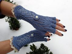 Victorian Lace Fingerless Gloves - in maroon dark brown or black! with the white