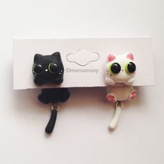 Cute Black and White Cat Clinging Earrings by momomony on Etsy, $8.00