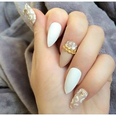 Doobys Stiletto Nails White Leopard Nude 24 glue on hand painted... ($24) ❤ liked on Polyvore featuring beauty products, nail care, nail treatments, nails and makeup