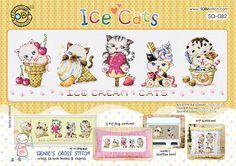 """Ice Cats"" Cross stitch pattern leaflet. Big Chart. SODA SO-G82 #SODAstitch"