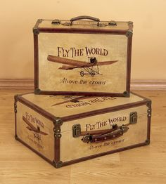 Wood Airplane Boxes Antique Style 72767-