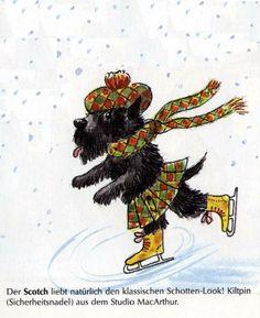 Scottish terrier ice skating