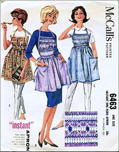 McCall's 6463 Misses One Yard Apron with Smocking, One Size Fits Most, Vintage Sewing Pattern, Check Listings for Siz. Smocking Patterns, Mccalls Patterns, Vintage Sewing Patterns, Print Patterns, Apron Sewing, Aprons Vintage, Sewing Stores, Sewing Crafts, Yard