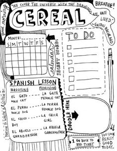 Fun doodles and journaling done while eating breakfast.  Could be everything you need for the day (to-do).