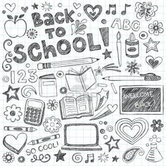 Back to school sketchy doodles set. Back to school supplies sketchy notebook doodles with lettering, shooting stars, and swirls- hand-drawn vector illustration design elements on lined sketchbook Doodle Drawings, Doodle Art, Chalk Drawings, Notebook Doodles, Free Notebook, Notebook Design, Karten Diy, Doodle Lettering, Sketch Notes