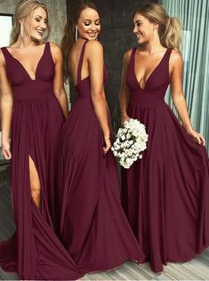 Buy A Line Burgundy V Neck Ruffles Slit Bridesmaid Dresses, Long Cheap Prom Dresses in uk.Rock one of the season's hottest looks in a burgundy homecoming dress or choose a timeless classic little black dress. Burgundy Bridesmaid Dresses Long, Mismatched Bridesmaid Dresses, Blue Bridesmaids, Wedding Bridesmaid Dresses, Bridesmaid Dress Colors, Backless Wedding Dresses, Country Style Bridesmaid Dresses, Bridesmaid Ideas, Prom Gowns