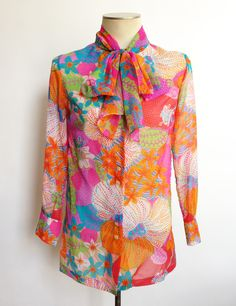 1960s Psychedelic Blouse Sheer Tunic