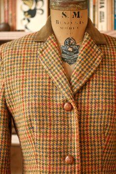 Vintage British Wool Tweed LAURA ASHLEY Riding Coat