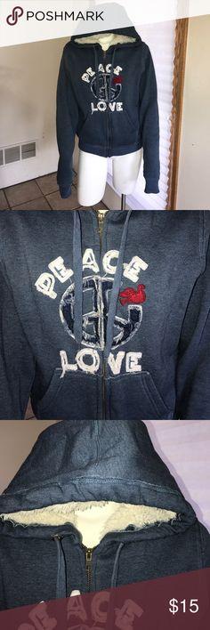 Peace and Love Hoodie So warm good used condition ✌🏻❤️ Cavalini Tops Sweatshirts & Hoodies