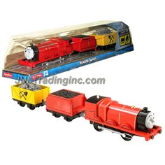 """Fisher Price Year 2014 Thomas and Friends Trackmaster As Seen on DVD """" Tale of the Brave"""" Enhanced Motorized Railway Battery Powered Engine 3 Pack Train Set - SCARED JAMES the Red Color Mixed-Traffic Engine with """"Coal Loaded"""" Car and """"Rock Loaded"""" Yellow Car"""