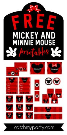 Mickey Mouse Birthday Decorations, Mickey Mouse Party Supplies, Mickey Mouse Clubhouse Birthday Party, Mickey Minnie Mouse, Mickey Printables, Party Printables, Minnie Mouse Pictures, Mickey Mouse Baby Shower, Mouse Parties
