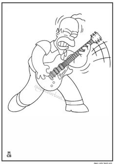 Homer Playing The Guitar Coloring Page Print This Out Or Color In Online With Our New Machine