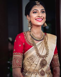 Kanjivaram saree styles are the most worn kind of trousseau by South Indian brides. Compiling a list of the best, here are 15 different Kanjivaram saree designs to get inspired from. South Indian Wedding Saree, Indian Bridal Sarees, Bridal Silk Saree, Indian Bridal Outfits, Indian Bridal Fashion, South Indian Bride, Wedding Sarees, Indian Groom, Punjabi Wedding