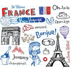 Buy France Doodles by Azzzzya on GraphicRiver. Symbols of France as funky doodles Tattoo Familia, Pays Francophone, French Days, Travel Doodles, World Thinking Day, French Classroom, French Lessons, Teaching French, Family Night