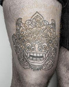 Barong tattoo balinese, inked by Cap Bagong Tatu studio, Ubud, Bali, Indonesia, made by hand tapping. #barongtattoodesign #barongtattoogalleries #barongtattootraditional #barongtattoomask #barongtattooknee G Tattoo, Get A Tattoo, Balinese Tattoo, Barong, First Tattoo, Ubud, Skin Art, Traditional Tattoo, Tattoo Artists