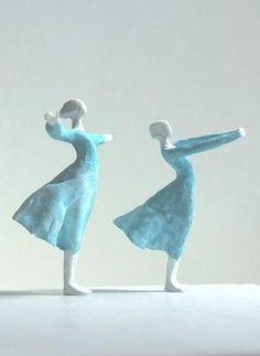 """Wind Dance"" mini sculpture by Tanaka Kazuhiko: clay stone powder, tinted watercolor or acrylic Pottery Sculpture, Sculpture Clay, Wire Sculptures, Abstract Sculpture, Bronze Sculpture, Ceramic Figures, Ceramic Art, Inspiration Artistique, 3d Figures"