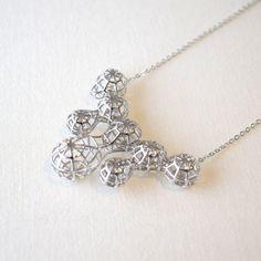 Metametal : 3D printed rhodium plated unique pendant. contemporary and chic. MONOCIRCUS