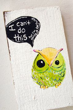 Owl in lime green and lemon yellow motivational words  by Cookstah,