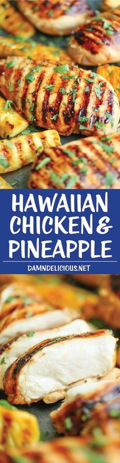 Hawaiian Chicken and Pineapple - Sweet and tangy chicken breasts grilled to absolute perfection with caramelized brown sugar pineapple. Just 10 min prep!