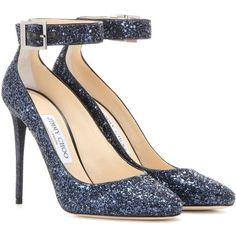 Jimmy Choo Memento Helena 110 Glitter Pumps ($640) ❤ liked on Polyvore featuring shoes, pumps, heels, blue, glitter pumps, blue glitter pumps, jimmy choo pumps, blue glitter shoes and blue heeled shoes