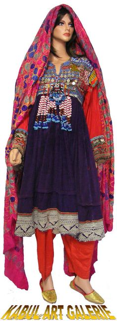 Vintage afghanistan ethnic traditional dress costume Nomaden afghan kleid No-B