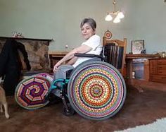 Image result for wheelchair wheel covers made from crochet Wheel Cover, Captain America, Crochet, Character, Image, Chair, Art, Burlap Table Runners, Art Background