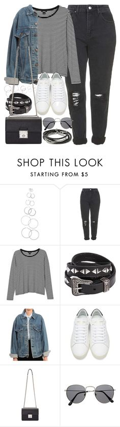 """""""Outfit with mom jeans"""" by ferned ❤ liked on Polyvore featuring Forever 21, Topshop, Monki, Yves Saint Laurent, Levi's, Dolce&Gabbana and Banana Republic"""