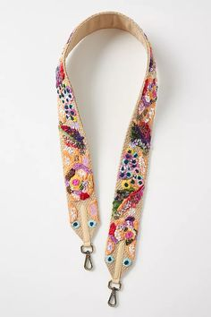 Floral Beaded Bag Strap | Anthropologie Beaded Bags, Beaded Jewelry, Quilted Purse Patterns, Floral Bags, Fabric Bags, Handmade Bags, Small Bags, Fashion Bags, Bag Accessories